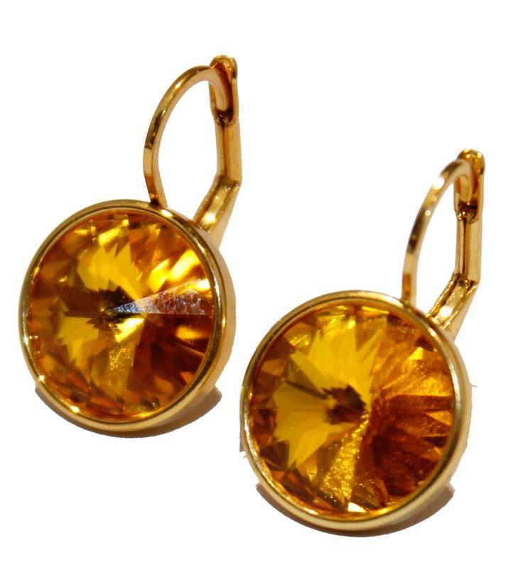 Swarovski Elements Topaz Bella Earrings Gold Plated Dangle Leverback