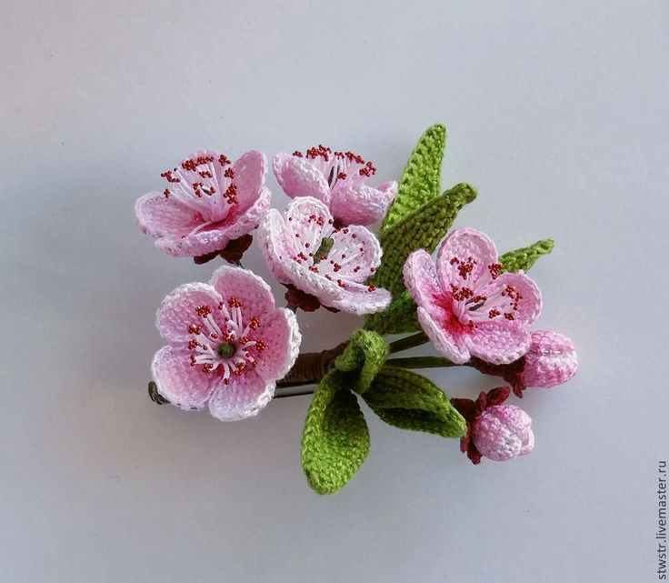 Купить сакура - сакура, брошь ручной работы, брошь цветок, брошь, ветка сакуры, подарок ♡