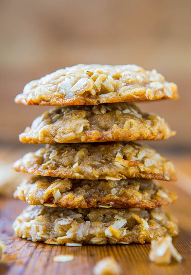Chewy Oatmeal Coconut Brown Sugar Cookies aka Anzac Biscuits by averiecooks.com