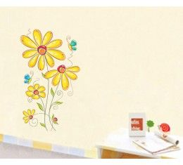 Yellow flowers wall sticker available at www.kidzdecor.co.za. Free postage throughout South Africa