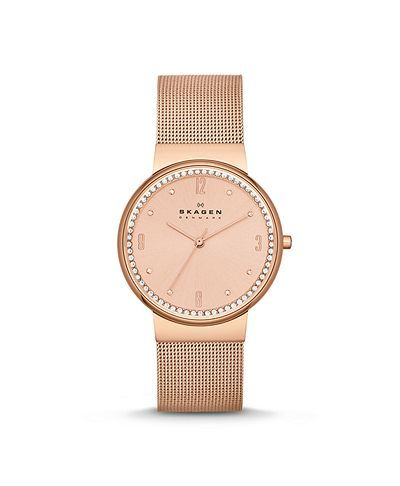 Rose gold mesh Skagen watch. Git it.