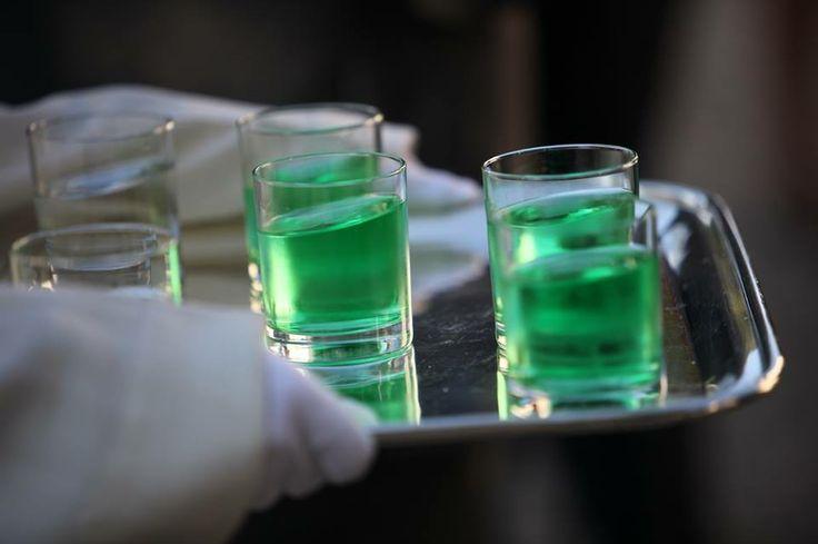 White gloves, green drinks