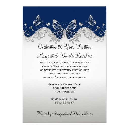 651 best 25th anniversary party invitations images on pinterest navy silver butterflies 25th anniversary card stopboris Image collections