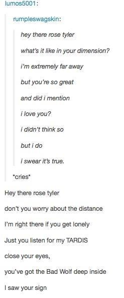 "what? no! there's something in my eye…! (""Hey There, Delilah"" Doctor Who edition.)"