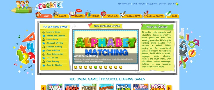 dozens of educational games for pre-K and elementary school students