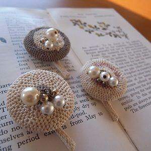 crochet brooch 「ouchi」**michiyo