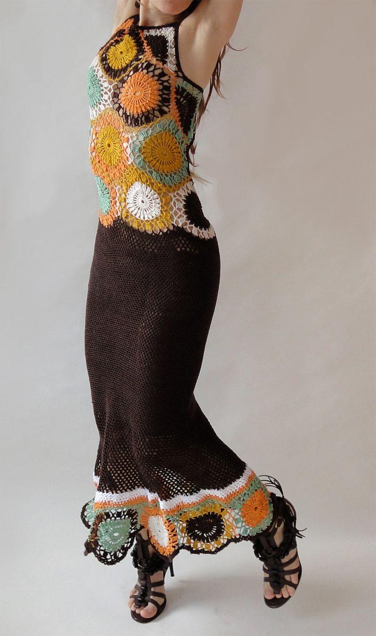Crochet sophisticated hippie dress - gypsy bohemian chic - vintage retro design -