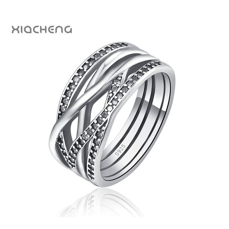 New Arrival 100% 925 Sterling Silver Wedding Rings With Full Crystal Women Ring Fit with Pandora Jewelry R07