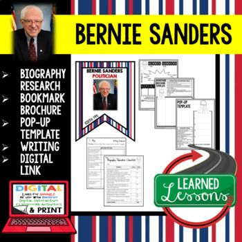 Bernie Sanders Biography Research, Bookmark Brochure, Pop-Up, Writing, Digital Link for Google Classroom Use ➤Digital Link for Google Classroom ➤Biography Research Profile Page ➤Biography Bookmark Brochure ➤Biography Pop-Up Foldable for