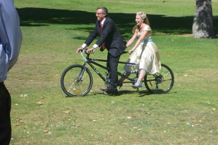 As if a Kombi wedding car wasn't enough.  We used an old style bike, which my sister (Maid of Honour) rode followed by my dad and myself following behind on a tandem push-bike to the ceremony