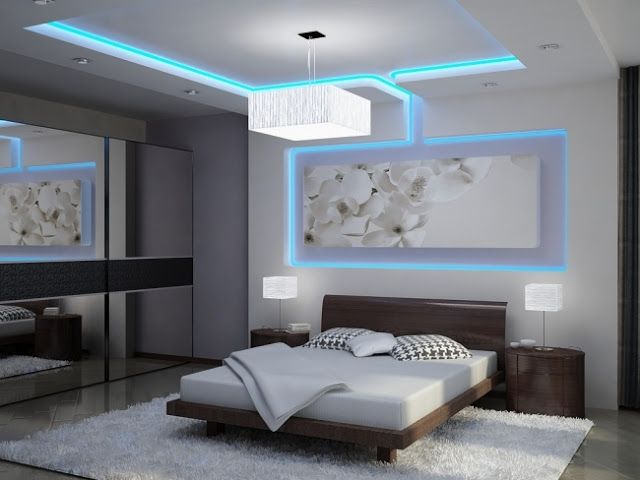 LED Indirect Lighting: Bedroom With Rectangular Blue Indirect LED Lighting