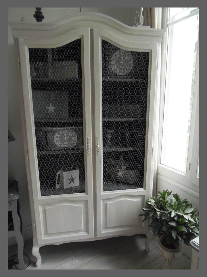 armoire biblioth que grillag e atelierdes4saisons patin e gris perle armoire biblioth que. Black Bedroom Furniture Sets. Home Design Ideas