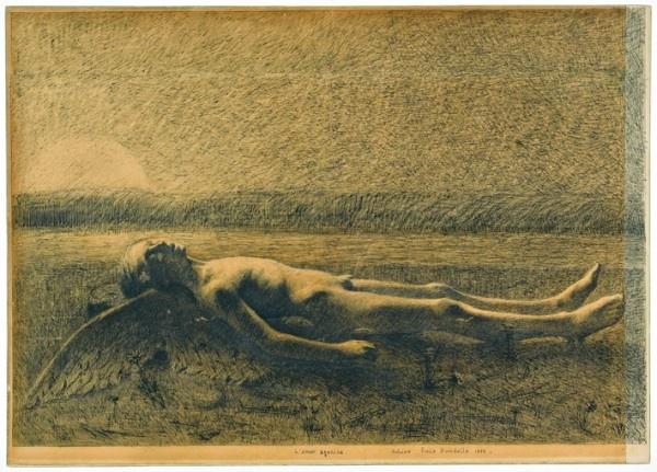 L'Amour agonise, 1886, plume et encre de Chine sur papier cartonné, 45,9 x 64,2 cm  (c) Musée Bourdelle / Roger-Viollet  http://www.offi.fr/expositions-musees/musee-bourdelle-1569/le-broyeur-de-sombre-48283.html