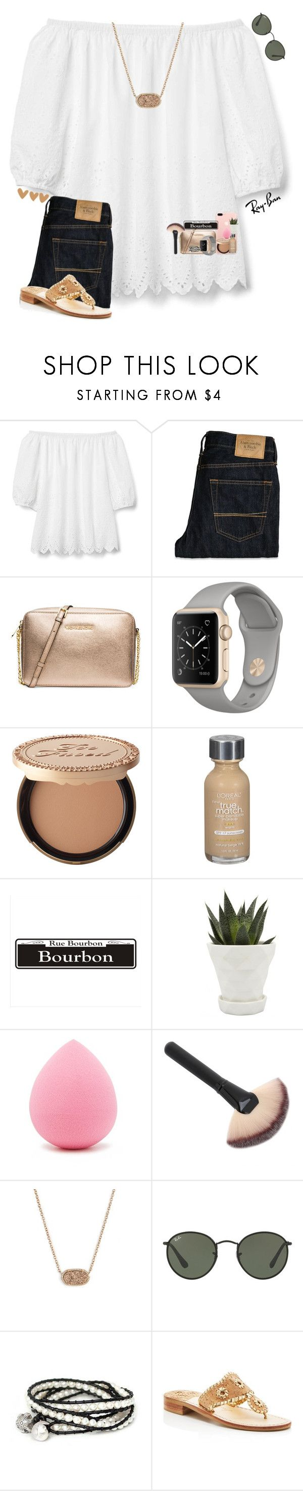 """""""•tomorrow is the day!•"""" by mackenzielacy814 on Polyvore featuring Gap, Abercrombie & Fitch, MICHAEL Michael Kors, Too Faced Cosmetics, L'Oréal Paris, Chive, Forever 21, Ray-Ban, Kendra Scott and NOVICA"""