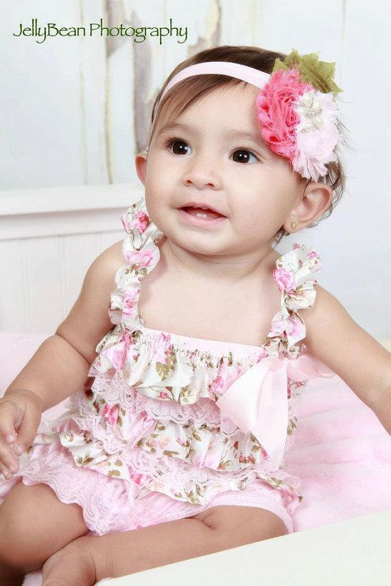 Shabby chic Lt pink floral satin and lace petti lace romper, lace petti romper, baby girl lace petti romper via Etsy