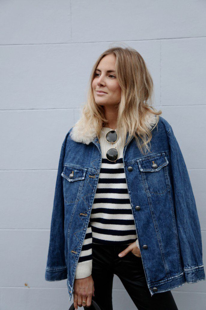 Faux fur collar, denim jacket and stripes