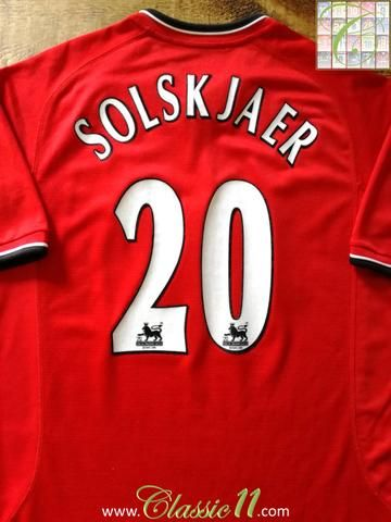 Official Nike Manchester United home football shirt from the 2000/2001 season. Complete with Solskjaer #20 on the back of the shirt in Premier League lettering.