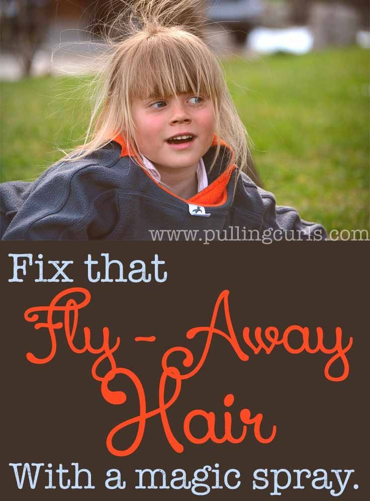 Fix fly away hair with this magic spray.  Unless, of course, you like your kids looking like they rubbed themselves down with a balloon just a few minutes ago. ;)