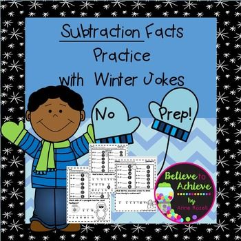 Subtraction Fact Practice with Winter Jokes! Your students will LOVE this fun approach to practicing those facts!Answer keys are included!*********************************************************************There are 6 practice pages included for the following skills:Subtracting doublesSubtract 5Subtract 6Subtract 7Subtract 8Subtract 9 These activities would work for first or second graders.