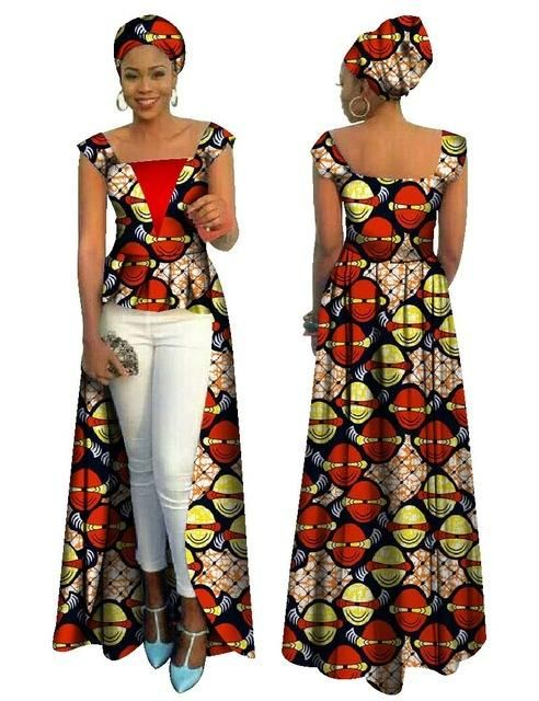 BRW African Print Bazin Riche Dress for Women Vetements Africain Femme  Cotton Casual Office Long Dresses Plus Size 6XL WY713 50dd735f98f9