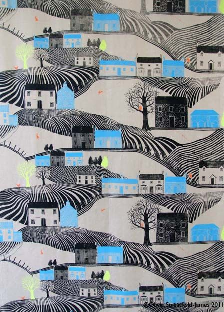 Create a picture ontop of flat colour. row of Amsterdam houses would look nice.Olivia Streatfield-James.