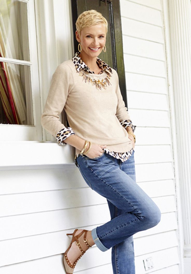 Chico's Embellished Neckline Pearl Pullover paired with the Effortless Leopard Love Lise Shirt.