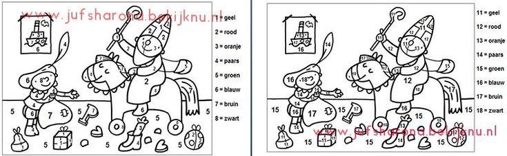 Pompom cijferherkenning Sinterklaas 1 t/m 18