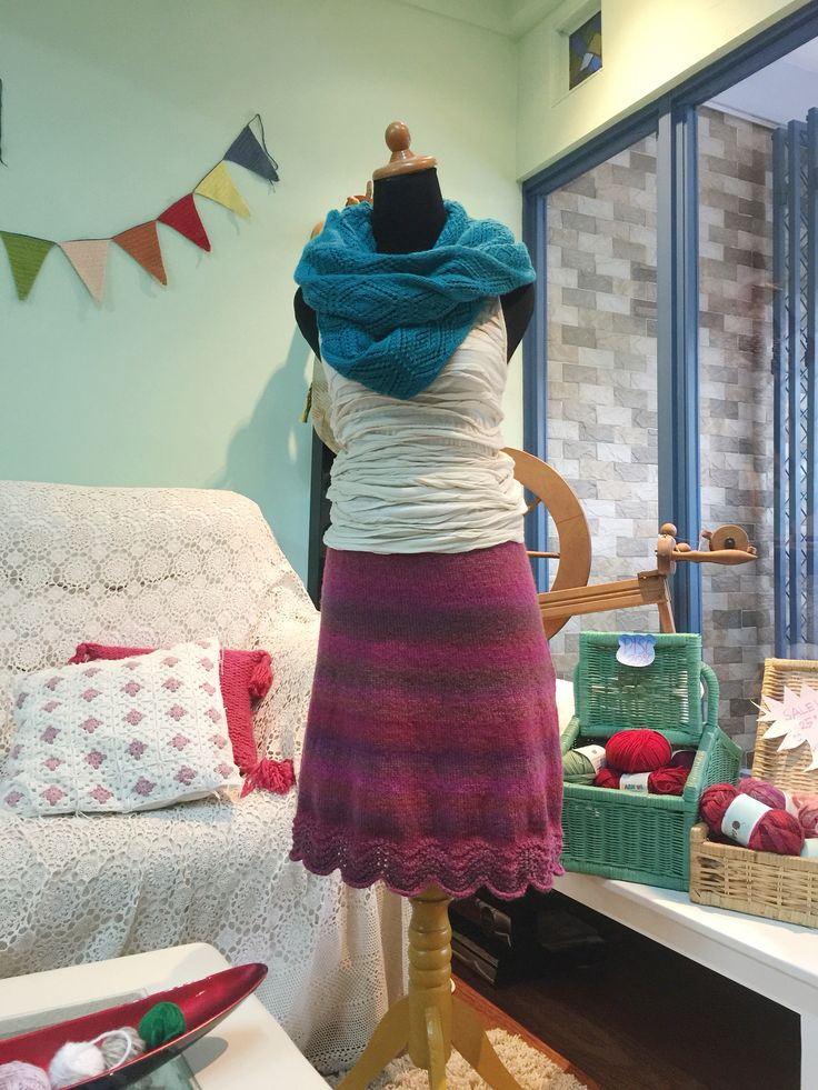 A-Line knitted skirt made by my student.. So proud of her