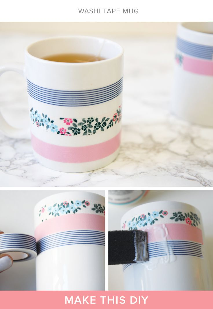 upgrade your coffee mug with patterned washi tape diy. Black Bedroom Furniture Sets. Home Design Ideas