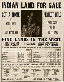 """A 1911 ad offering former reservation land for sale. Most of the """"allotted Indian land"""" sold the previous year (1910) was Sioux land."""