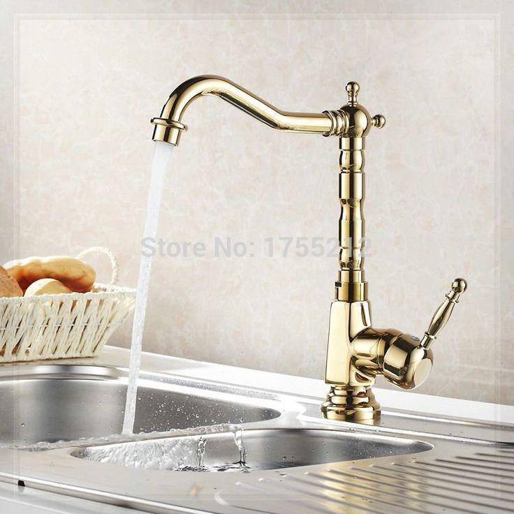 Купить товарЛатунь золото цвет одинарная ручка ванная кухня умывальник кран миксер краны вода кран затычка рукоятка cocina HJ 6707K в категории Кухонные раковинына AliExpress.            &