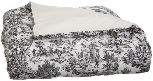 Victoria Park Toile Bed Comforter Queen Size, Black Ellis Curtain #PLL
