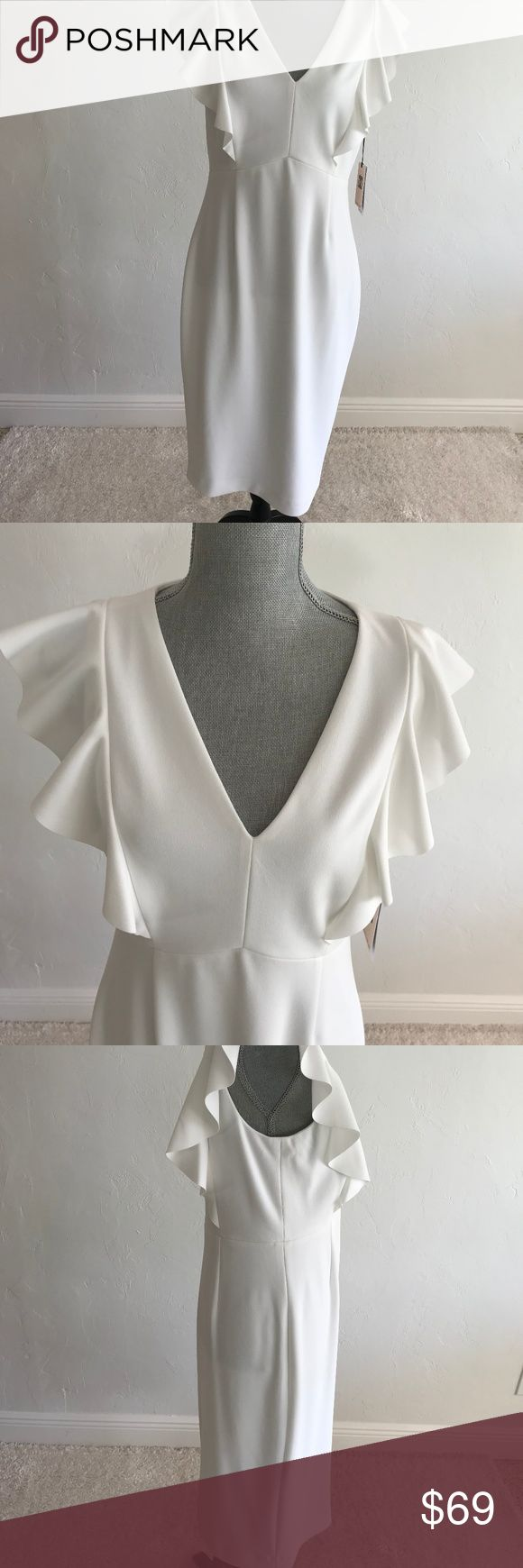 """NEW Ivanka Trump dress NEW Ivanka Trump dress white V-neck ruffles sleeveless zippered in the back , midi dress  . Fit and flare.  Size 10. Shell 94% polyester and 6% elastane, lining 100% polyester.  Armpit to armpit      18""""     length      41"""". Price firm. Ivanka Trump Dresses"""