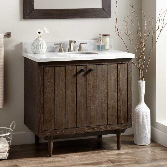 36 Osa Teak Vanity For Undermount Sink Dark Grey Vintage Bathroom Vanities Bathroom Vanity Wood Bathroom Vanity