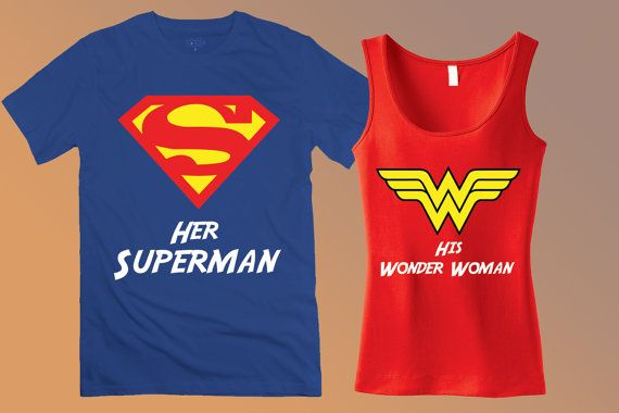 Superman & Wonder Woman Couples Tee Shirts - Her Superman and His Wonder Woman Custom Matching Tank Tops