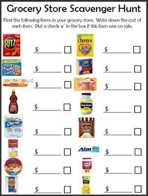 FREE. Grocery Shopping Scavenger Hunt.  Great way to structure your next field trip to the grocery store.  You could also use this same worksheet using coupon flyers.  Very visual and practical.  Perfect for middle and high school special education students.  Get your FREE copy at:  https://www.teacherspayteachers.com/Product/Grocery-Scavenger-Hunt-566045
