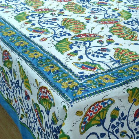 Good Block Printed By Hand Using Carved Wooden Blocks. 6 To 8 Seater, 150 X Made  In India.