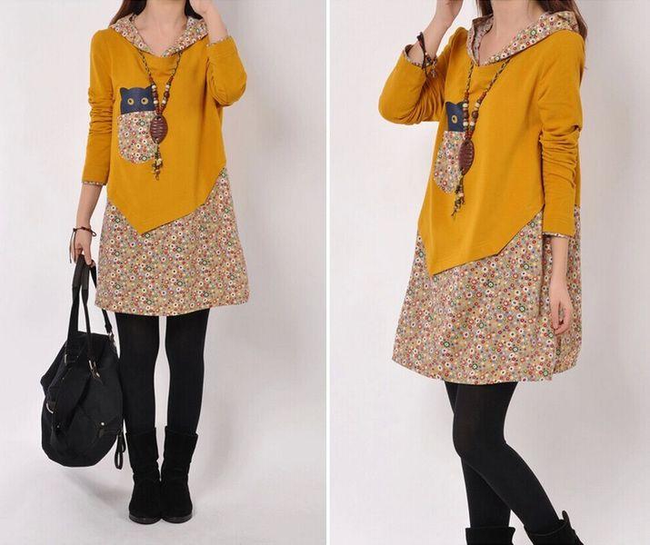 Floral Stitching vestito casuale con cappuccio di casualfashion su DaWanda.com