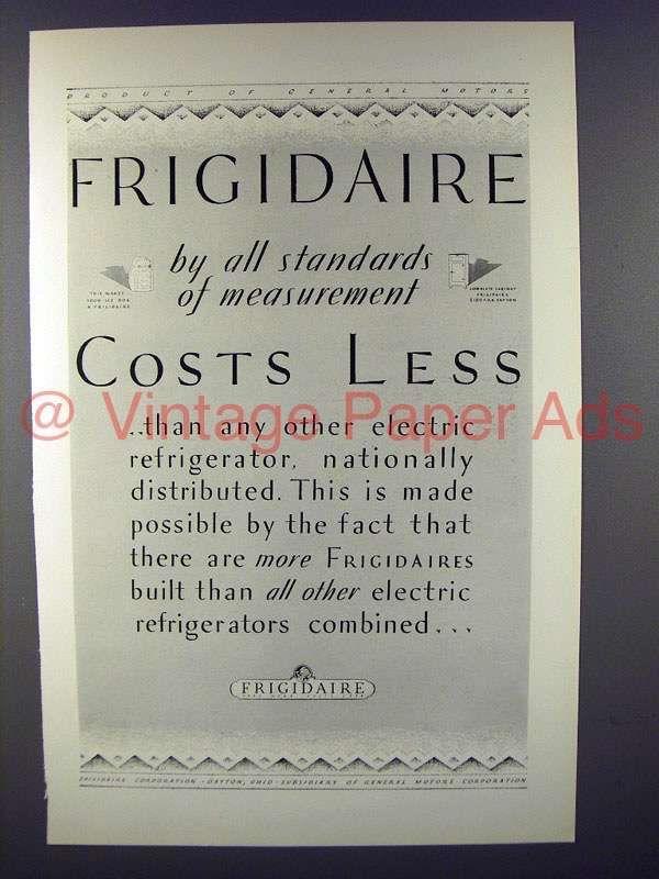 1927 Frigidaire Refrigerator Ad - Costs Less!