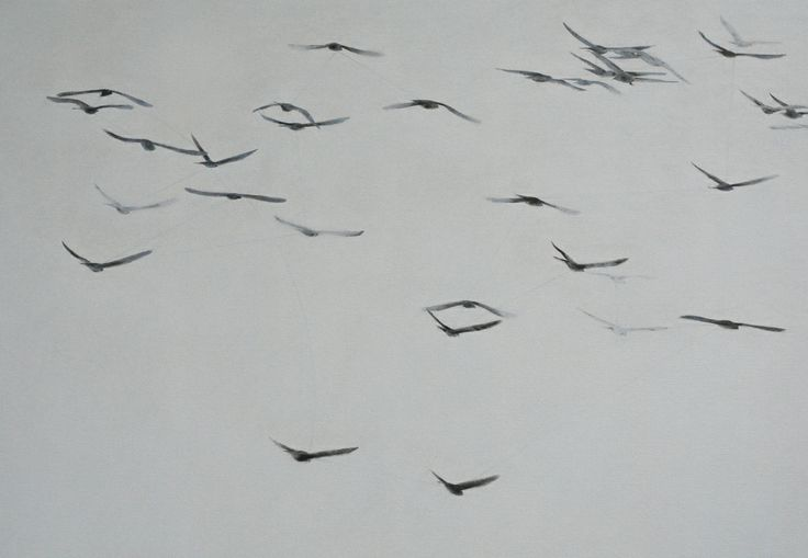 Slow Show, 2008, ink and oil on canvas, 45 x 65 cm.