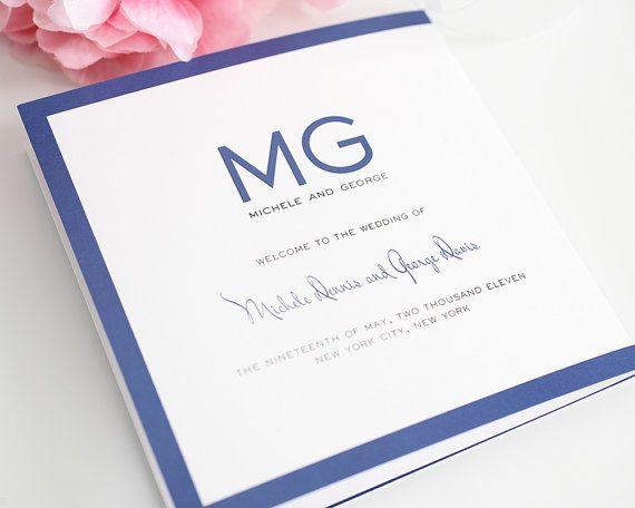 Modern Luxe Folded Wedding Program By Shineinvitations 10000