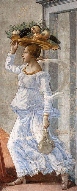 """1486-90, Domenico di Tommaso Curradi di Doffo Bigordi, """"Ghirlandaio"""" (Firenze, IT 1449-1494):  Birth of St. John the Baptist, detail. Santa Maria Novella, cappella Tornabuoni (Firenze)."""