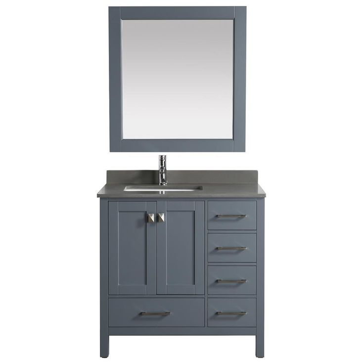 """Design Element London 36"""" Vanity in Gray with Quartz Vanity Top in Gray with White Basin and Mirror"""