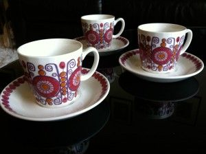 Turi-Design Barcarole Norwegian china. Ceramic cups and saucers. Figgjo Fajanse