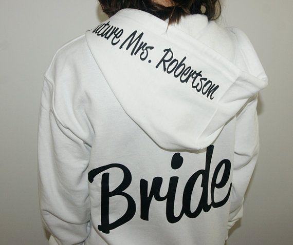 Bride Hoodie zip up jacket with Future Mrs on by BrideAndEntourage