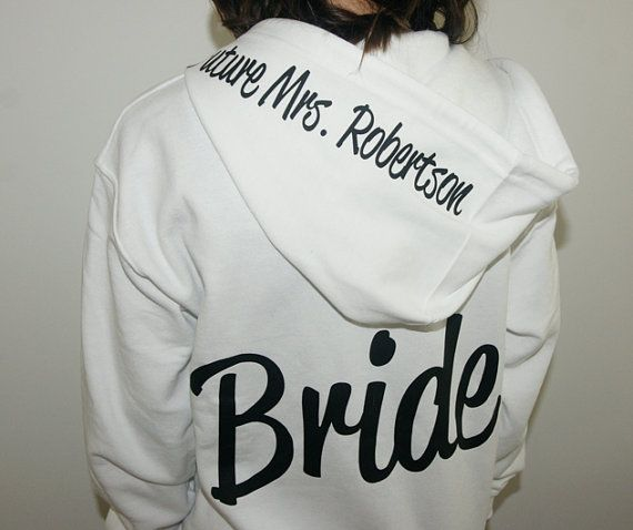 Bride Hoodie zip up jacket with Future Mrs on by BrideAndEntourage