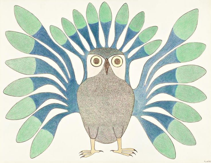 Kenojuak Ashevak - Green Owl 22 x 26 Ink and colored pencil drawing (1992-93)
