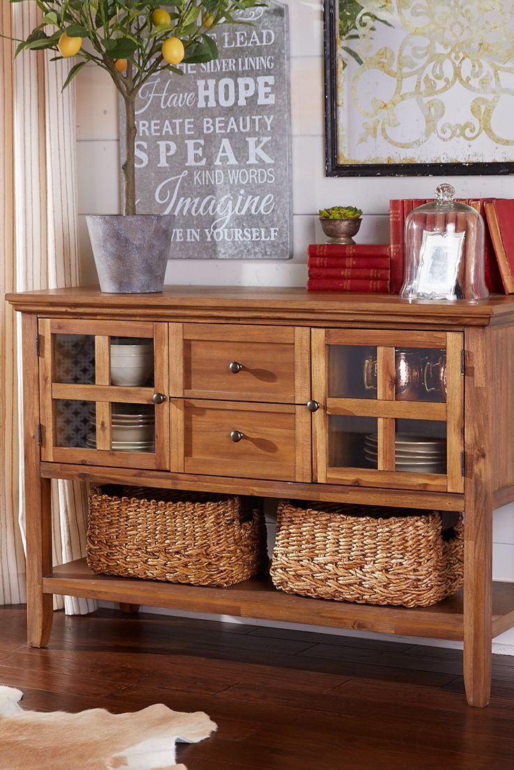 Pier 1's Ronan Small Buffet has traditional good looks, especially if you have a tradition of needing more storage. Our timeless buffet features solid wood construction with a rich, lacquered finish. Two glass-paned side cabinets have interior shelves, two recessed panel drawers provide room for flatware and a full-length lower shelf gives you display space for baskets or large serving pieces.