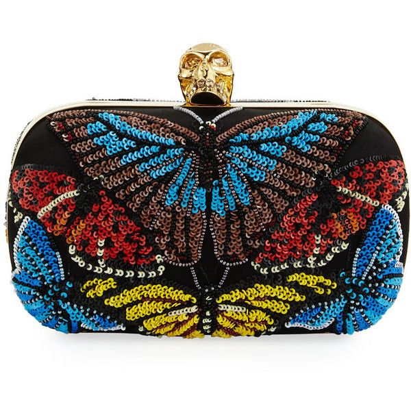 Alexander McQueen Skull Beaded Butterfly Clutch Bag (3 816 AUD) ❤ liked on Polyvore featuring bags, handbags, clutches, black multi, alexander mcqueen handbags, skull box clutch, chain strap purse, beaded purse and alexander mcqueen purse