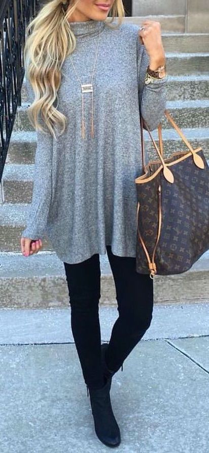 #fall #fashion / oversized gray knit                                                                                                                                                                                 More